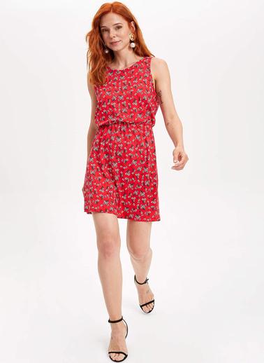 DeFacto Desenli Elbise Kırmızı